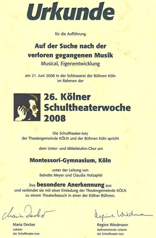 Kölner Schultheaterwoche 2008 Urkunde