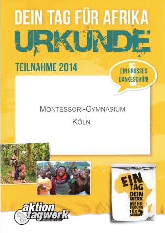 Dein Tag für Afrika - Urkunde fürs Monte 2014