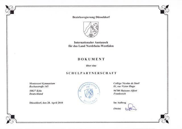 Urkunde Schulpartnerschaft Frankreich Montessori Gymnasium Köln